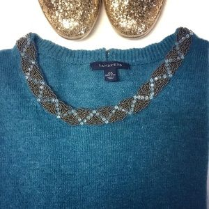 Lands End • dark teal beaded scoop neck sweater
